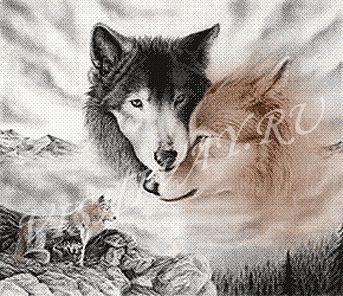 Вышивка картин схемы волки