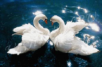 Схемы для вышивки пара лебедей