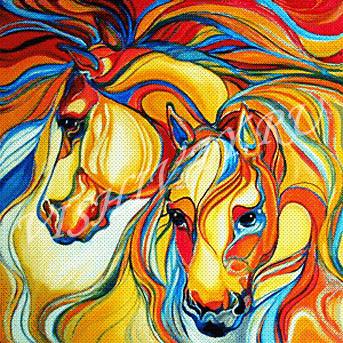 Вышивка радужный конь