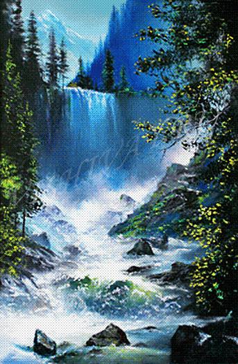 Водопады вышивка крестом схемы